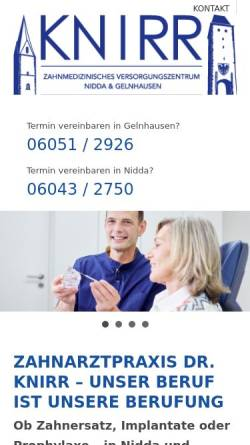 Vorschau der mobilen Webseite www.dr-knirr.de, Zahnarztpraxis Dr. Knirr