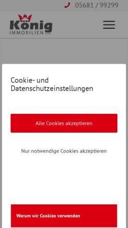 Vorschau der mobilen Webseite www.koenig-immobilien.de, Koenig Immobilien GmbH