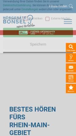 Vorschau der mobilen Webseite bonsel.de, Hörgeräte Bonsel GmbH
