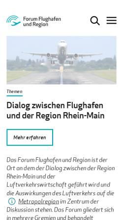 Vorschau der mobilen Webseite www.forum-flughafen-region.de, Forum Flughafen und Region
