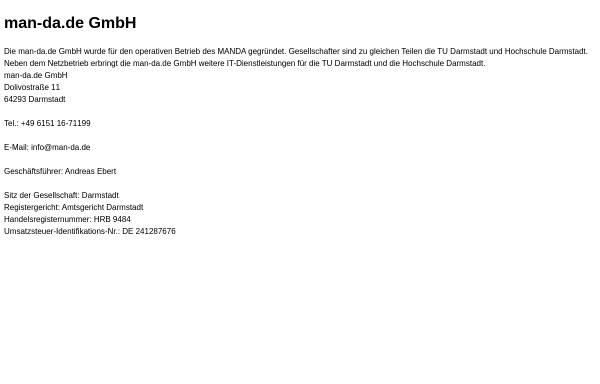 Vorschau von www.man-da.de, MANDA - Metropolitan Area Network Darmstadt