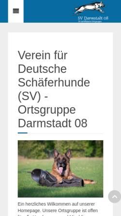 Vorschau der mobilen Webseite www.svogdarmstadt08.de, Schäferhundverein (SV) Ortsgruppe (OG) Darmstadt 08