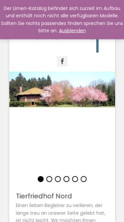 Vorschau der mobilen Webseite www.tierfriedhof-nord.de, Tierfriedhof Nord