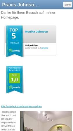 Vorschau der mobilen Webseite www.praxisjohnson.de, Praxis für Naturheilverfahren Monika Johnson
