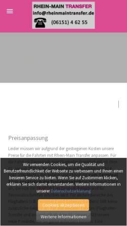 Vorschau der mobilen Webseite rheinmaintransfer.de, Rhein-Main Transfer, Jürgen Lampert