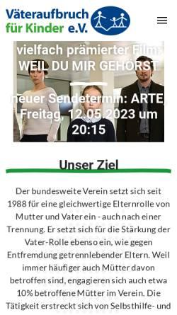 Vorschau der mobilen Webseite www.vaeteraufbruch.de, Väteraufbruch für Kinder