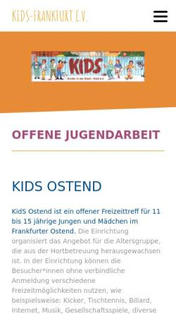Vorschau der mobilen Webseite www.kids-frankfurt.org, Verein Kinder in der Stadt Kids Frankfurt e.V.
