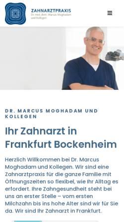 Vorschau der mobilen Webseite zahn-ffm.de, Zahnarztpraxis Dr. Marcus Moghadam und Kollegen