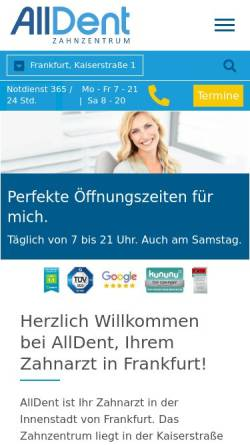 Vorschau der mobilen Webseite www.alldent-frankfurt.de, AllDent Zahnzentrum Hauptwache