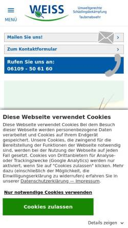 Vorschau der mobilen Webseite www.weiss-hygiene.de, Weiss Hygiene-Service GmbH