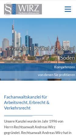 Vorschau der mobilen Webseite www.ra-wirz.de, Wirz Andreas