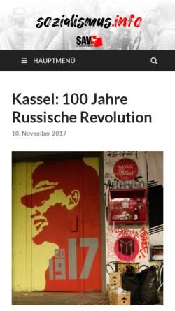 Vorschau der mobilen Webseite www.sozialismus.info, Sozialistische Alternative (SAV) Kassel