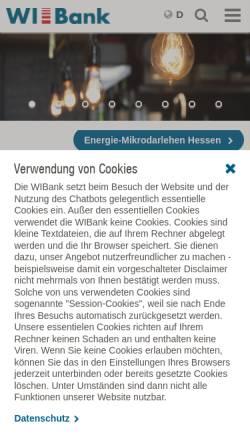 Vorschau der mobilen Webseite www.wibank.de, InvestitionsBank Hessen AG