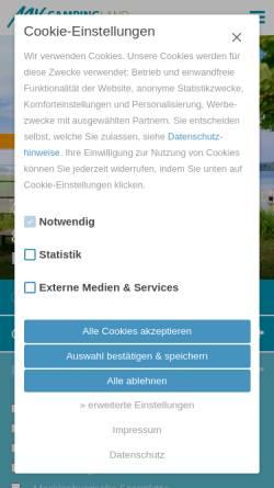 Vorschau der mobilen Webseite www.vcwmv.de, Verband für Camping- und Wohnmobiltourismus in Mecklenburg-Vorpommern e.V. (VCWMV)