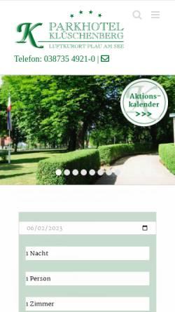 Vorschau der mobilen Webseite www.klueschenberg.de, Parkhotel Klüschenberg Plau am See