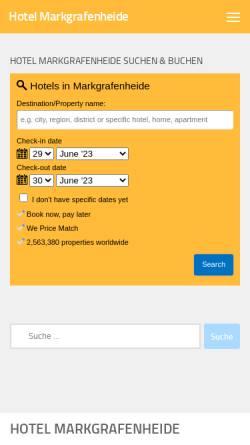 Vorschau der mobilen Webseite hotelmarkgrafenheide.de, Hotel Markgrafenheide