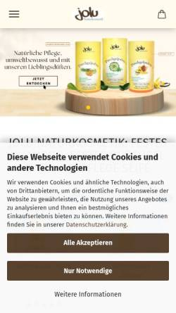 Vorschau der mobilen Webseite www.jolu.eu, Jolu - Seifensiederei & Naturkosmetik, Carina Benkert