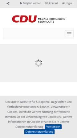 Vorschau der mobilen Webseite cdu-mse.de, CDU Neubrandenburg