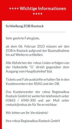Vorschau der mobilen Webseite www.rebus.de, REBUS - Regionalbus Rostock GmbH