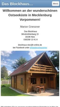 Vorschau der mobilen Webseite www.blockhaus-niex.de, Ferien-Blockhaus in Niex