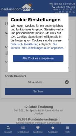 Vorschau der mobilen Webseite www.insel-usedom-abc.de, Insel-usedom-abc.de, Ferienwohnungen auf der Insel Useom