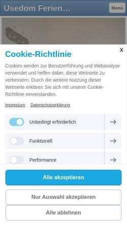 Vorschau der mobilen Webseite inselurlaub-usedom-fewo.de, Ferienwohnungen Steeb