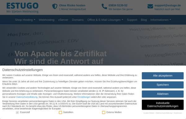 Vorschau von www.estugo.de, Estugo.net Webhosting; Inh.: A. Mehner