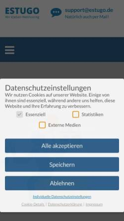 Vorschau der mobilen Webseite www.estugo.de, Estugo.net Webhosting; Inh.: A. Mehner