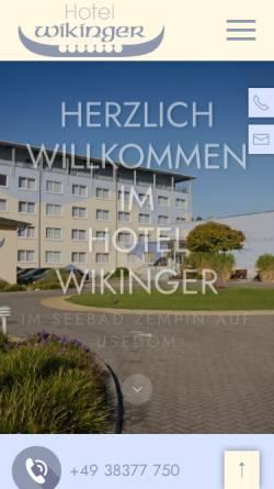 Vorschau der mobilen Webseite www.hotel-wikinger.de, Hotel Wikinger und Restaurant Walhall