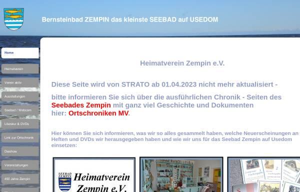 Vorschau von zempin-usedom-heimat.de, Heimatverein Zempin e. V.