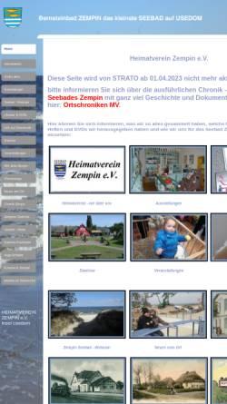Vorschau der mobilen Webseite zempin-usedom-heimat.de, Heimatverein Zempin e. V.