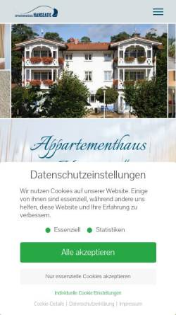 Vorschau der mobilen Webseite ostseeinsel-ruegen.de, Appartementhaus Hanseatic