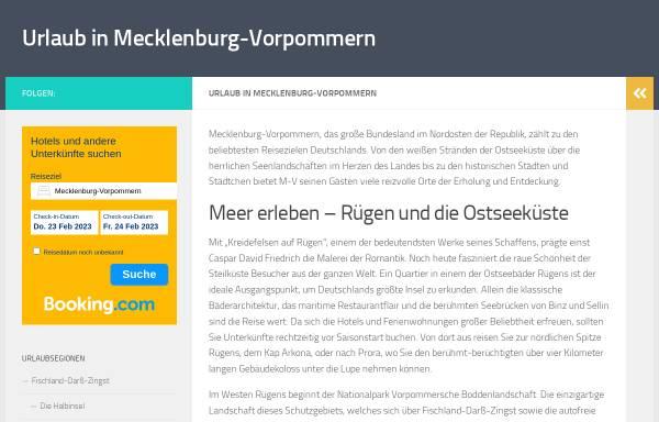 Vorschau von urlaub-m-v.de, urlaub-m-v.de - Urlaub in Mecklenburg-Vorpommern