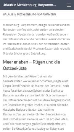 Vorschau der mobilen Webseite urlaub-m-v.de, urlaub-m-v.de - Urlaub in Mecklenburg-Vorpommern