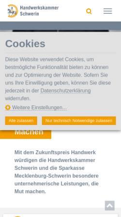 Vorschau der mobilen Webseite www.hwk-schwerin.de, Handwerkskammer Schwerin