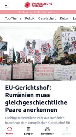 Vorschau der mobilen Webseite www.evangelische-zeitung.de, Evangelische Zeitung