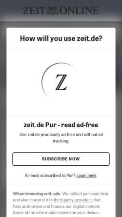 Vorschau der mobilen Webseite www.zeit.de, Christ und Welt