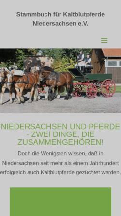 Vorschau der mobilen Webseite www.kaltblutpferde-nds.de, Stammbuch für Kaltblutpferde Niedersachsen e.V.