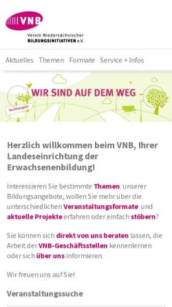 Vorschau der mobilen Webseite www.vnb.de, Verein Niedersächsicher Bildungsinitiativen e.V.