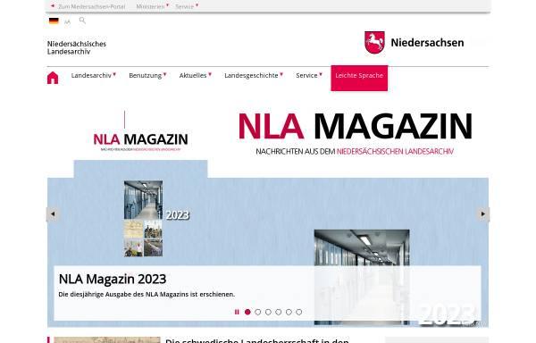 Vorschau von www.nla.niedersachsen.de, Landesarchive in Niedersachsen