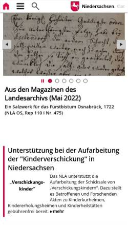 Vorschau der mobilen Webseite www.nla.niedersachsen.de, Landesarchive in Niedersachsen