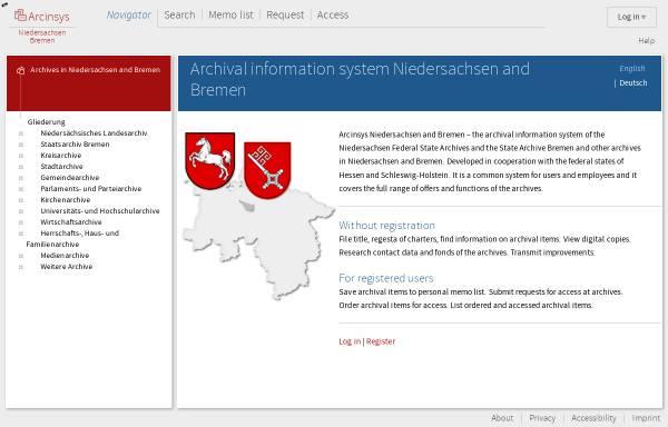Vorschau von archivportal.niedersachsen.de, Archivportal Niedersachsen