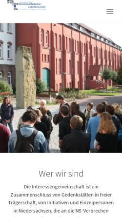 Vorschau der mobilen Webseite www.gedenkstaetten-niedersachsen.de, Interessengemeinschaft niedersächsischer Gedenkstätten und Initiativen zur Erinnerung an die NS-Verbrechen