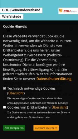 Vorschau der mobilen Webseite cdu-wiefelstede.de, CDU Gemeindeverband Wiefelstede