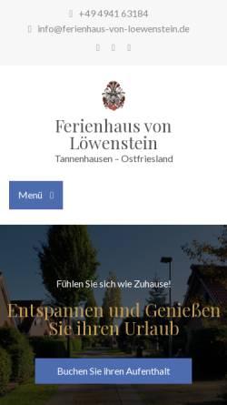 Vorschau der mobilen Webseite www.ferienhaus-von-loewenstein.de, Ferienhaus von Löwenstein