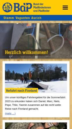 Vorschau der mobilen Webseite www.pfadfinder-aurich.de, BdP Stamm Vaganten Aurich