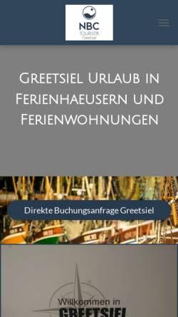 Vorschau der mobilen Webseite www.greetsiel-nordsee.org, NBC Touristik und Ferienimmobilien Service