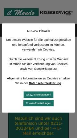 Vorschau der mobilen Webseite www.ilmondoreiseservice.de, Il Mondo Reiseservice GmbH