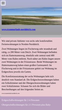 Vorschau der mobilen Webseite www.traumurlaub-norddeich.com, Traumurlaub-Norddeich.com