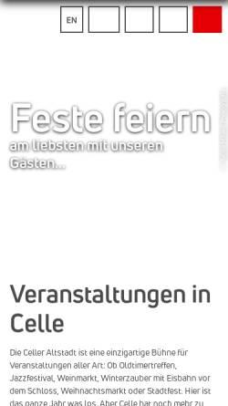 Vorschau der mobilen Webseite www.celle-tourismus.de, Celler Weihnachtsmarkt - Celle Tourismus und Marketing GmbH